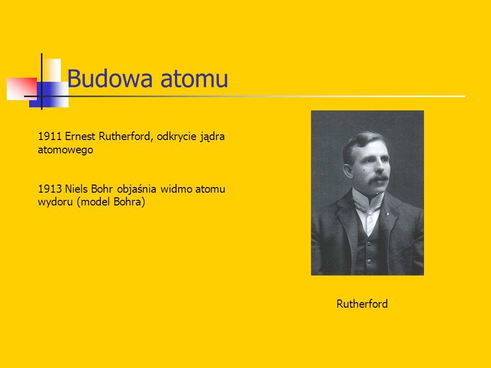 Budowa atomu 1911 Ernest Rutherford, odkrycie jądra atomowego