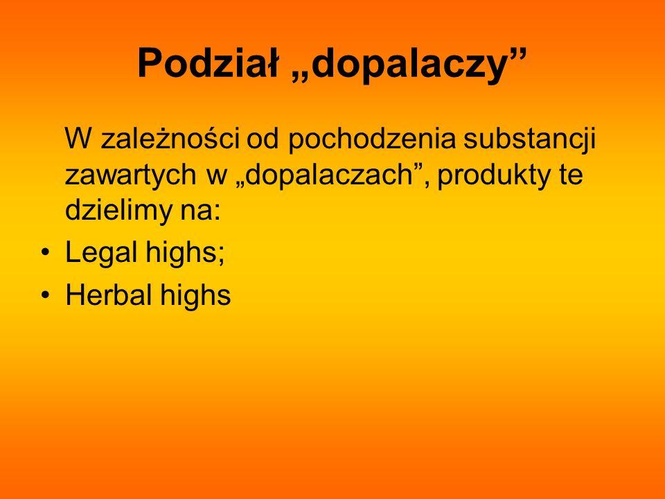 """Podział """"dopalaczy W zależności od pochodzenia substancji zawartych w """"dopalaczach , produkty te dzielimy na:"""