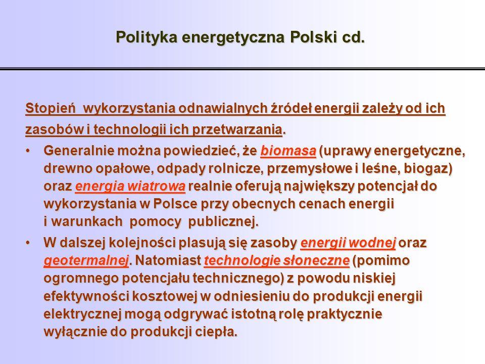 Polityka energetyczna Polski cd.