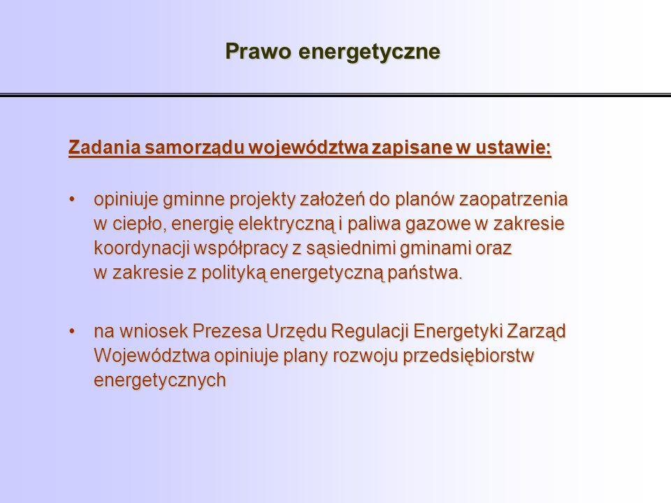 Prawo energetyczne Zadania samorządu województwa zapisane w ustawie:
