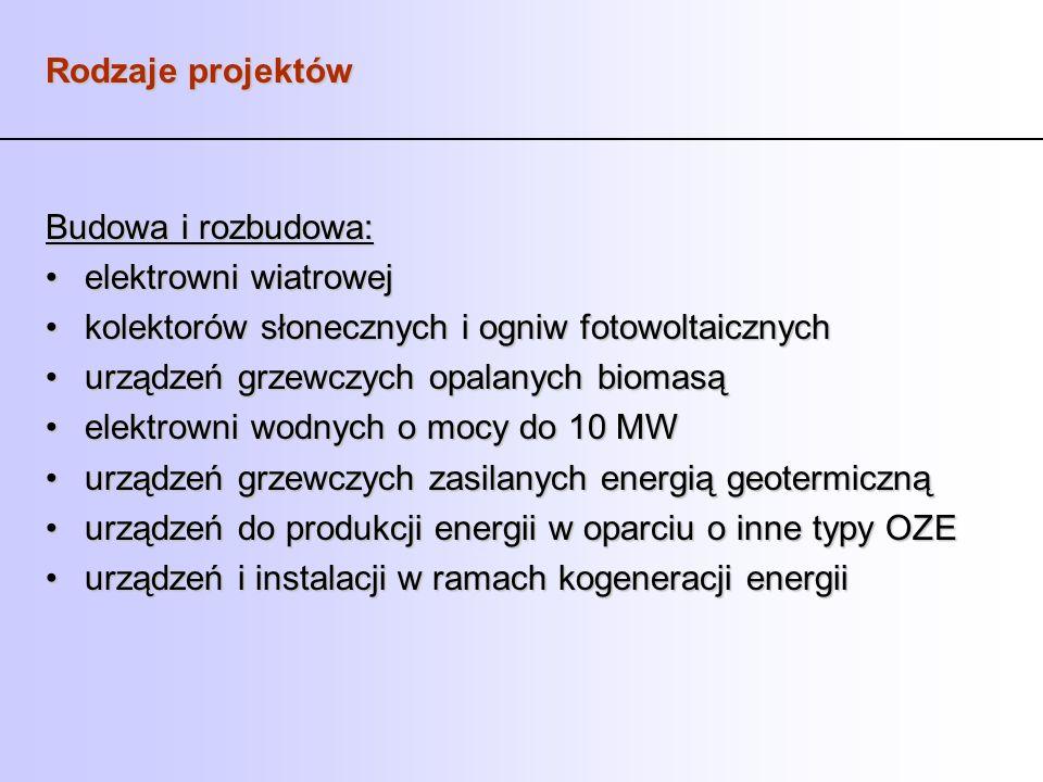 Rodzaje projektów Budowa i rozbudowa: elektrowni wiatrowej. kolektorów słonecznych i ogniw fotowoltaicznych.