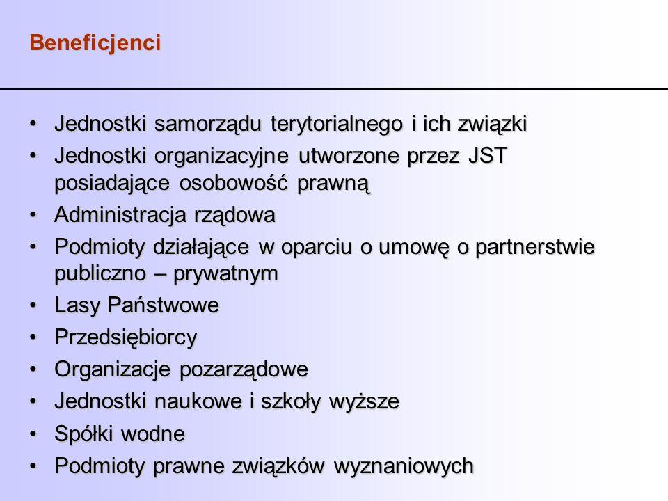 Beneficjenci Jednostki samorządu terytorialnego i ich związki. Jednostki organizacyjne utworzone przez JST posiadające osobowość prawną.