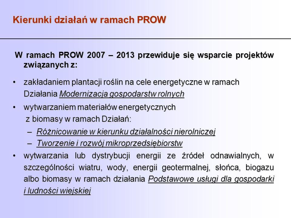 Kierunki działań w ramach PROW