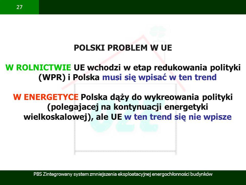POLSKI PROBLEM W UEW ROLNICTWIE UE wchodzi w etap redukowania polityki (WPR) i Polska musi się wpisać w ten trend.