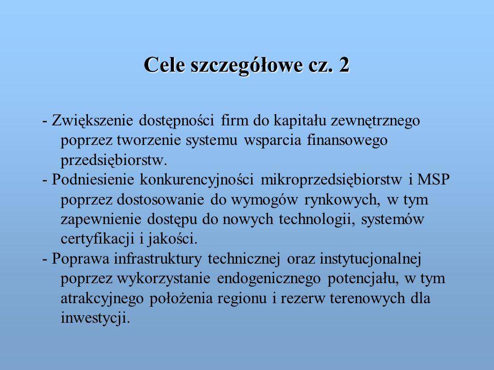 Cele szczegółowe cz. 2 - Zwiększenie dostępności firm do kapitału zewnętrznego poprzez tworzenie systemu wsparcia finansowego przedsiębiorstw.