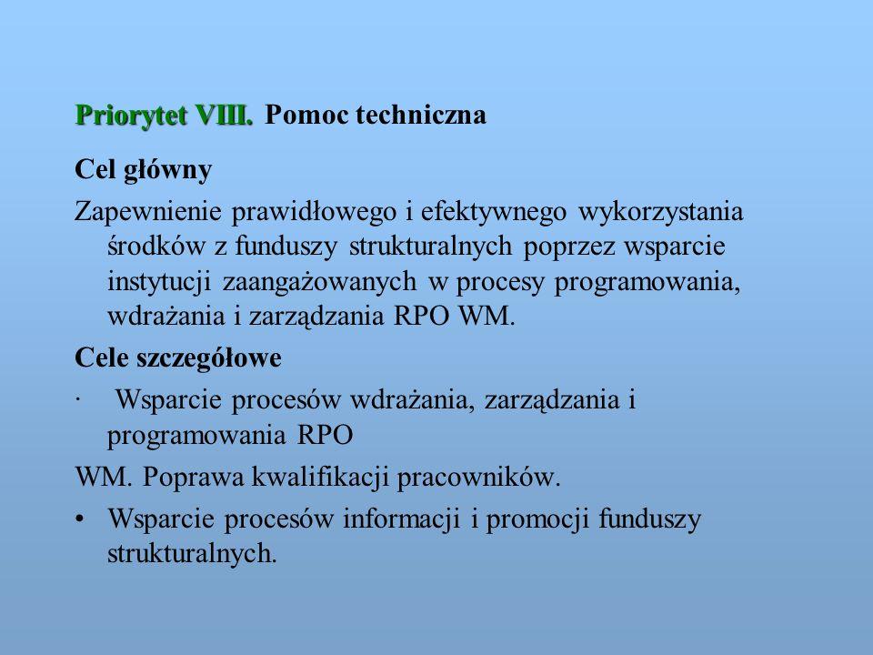 Priorytet VIII. Pomoc techniczna