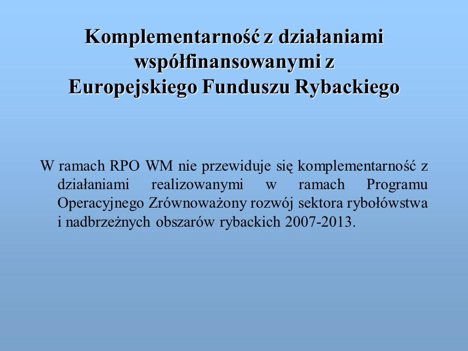 Komplementarność z działaniami współfinansowanymi z Europejskiego Funduszu Rybackiego