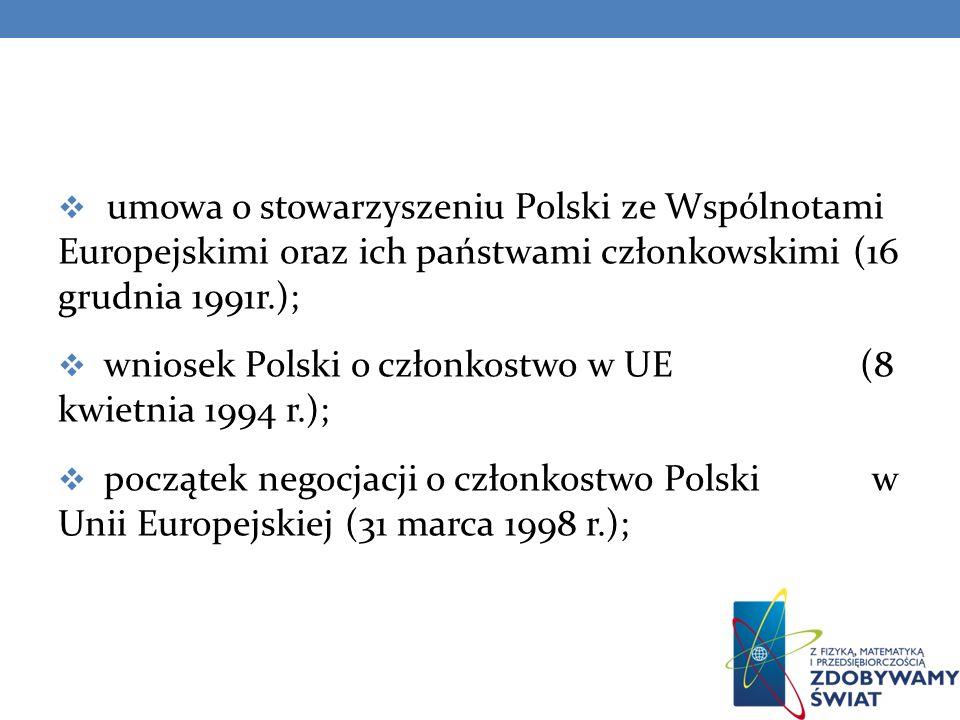 umowa o stowarzyszeniu Polski ze Wspólnotami Europejskimi oraz ich państwami członkowskimi (16 grudnia 1991r.);