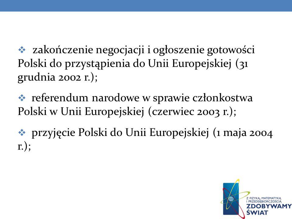 zakończenie negocjacji i ogłoszenie gotowości Polski do przystąpienia do Unii Europejskiej (31 grudnia 2002 r.);