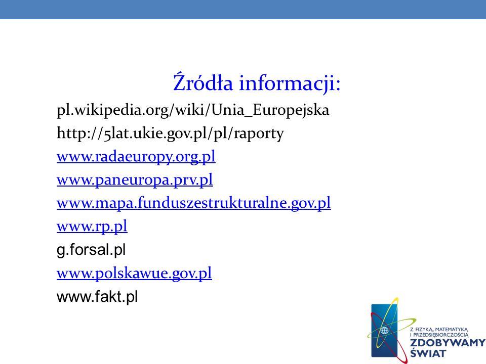 Źródła informacji: pl.wikipedia.org/wiki/Unia_Europejska