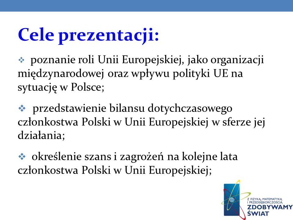 Cele prezentacji: poznanie roli Unii Europejskiej, jako organizacji międzynarodowej oraz wpływu polityki UE na sytuację w Polsce;
