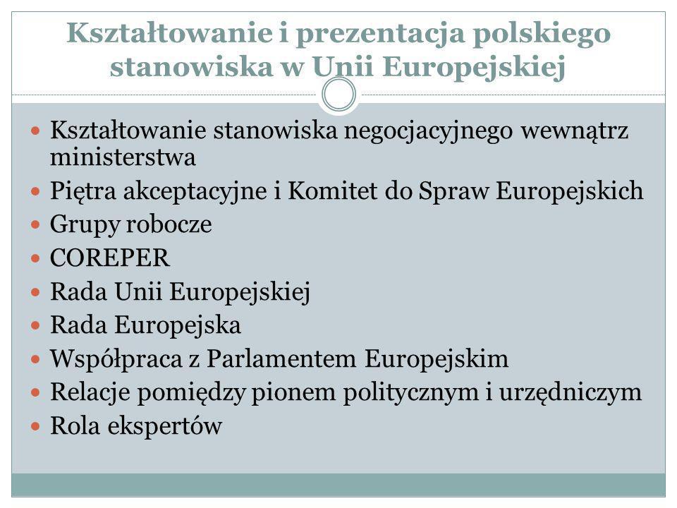 Kształtowanie i prezentacja polskiego stanowiska w Unii Europejskiej