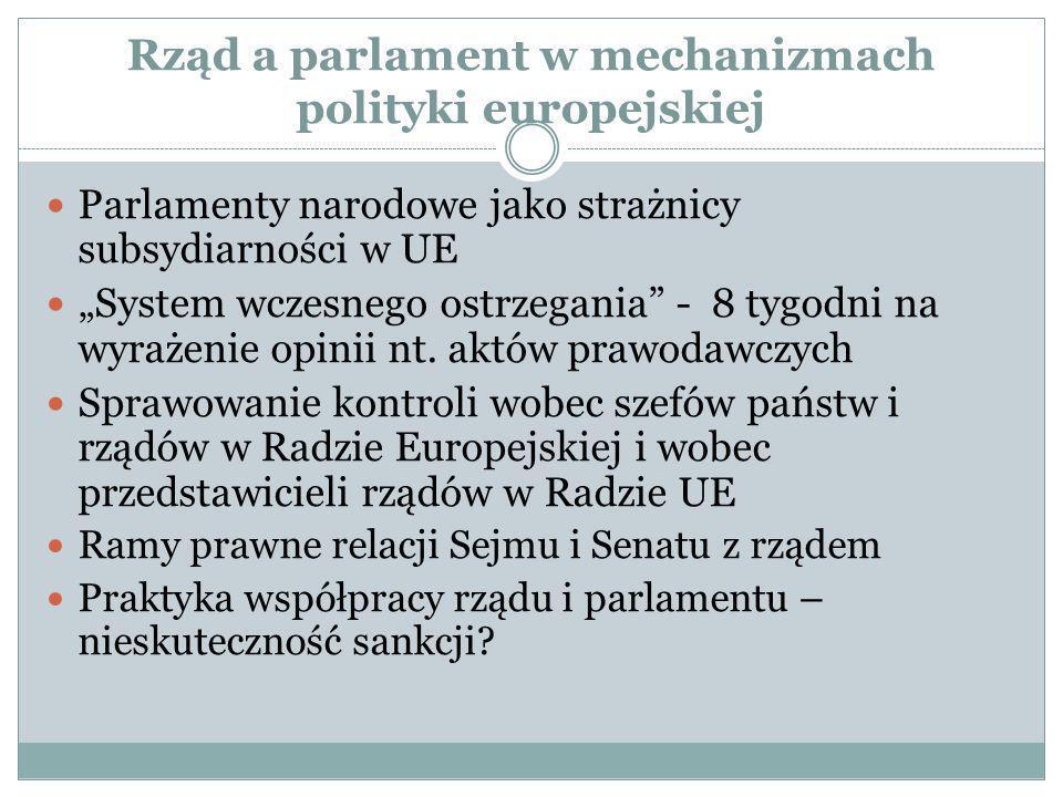 Rząd a parlament w mechanizmach polityki europejskiej