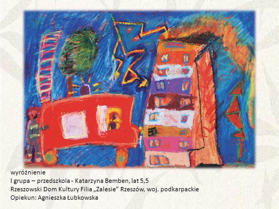 """wyróżnienie I grupa – przedszkola - Katarzyna Bemben, lat 5,5. Rzeszowski Dom Kultury Filia """"Zalesie Rzeszów, woj. podkarpackie."""