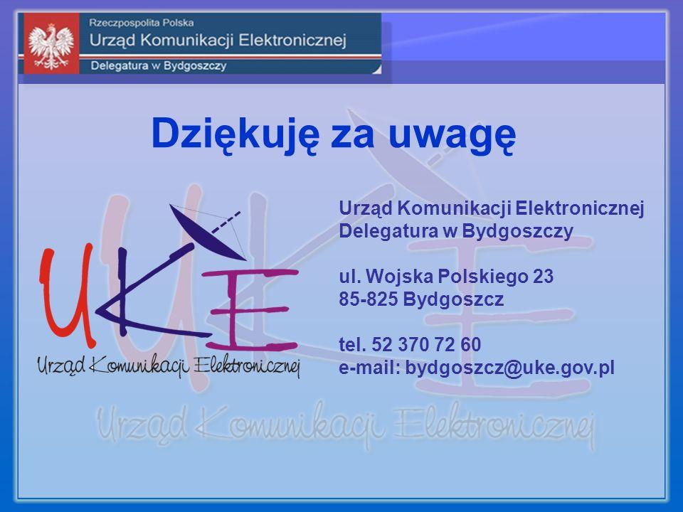 Dziękuję za uwagę Urząd Komunikacji Elektronicznej