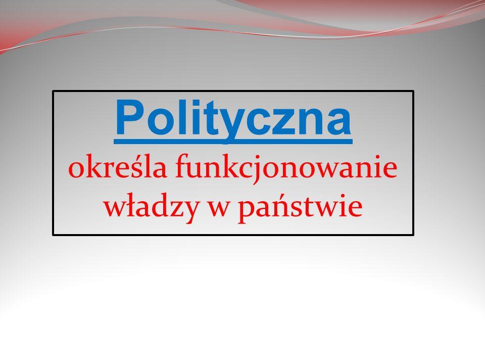 Polityczna określa funkcjonowanie władzy w państwie