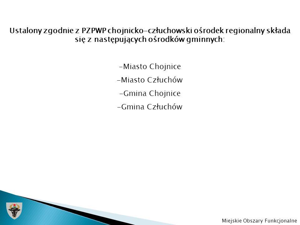 Ustalony zgodnie z PZPWP chojnicko-człuchowski ośrodek regionalny składa się z następujących ośrodków gminnych: