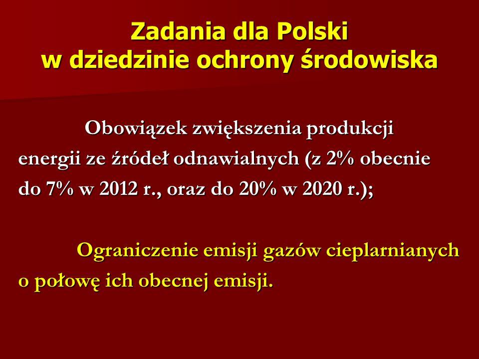 Zadania dla Polski w dziedzinie ochrony środowiska