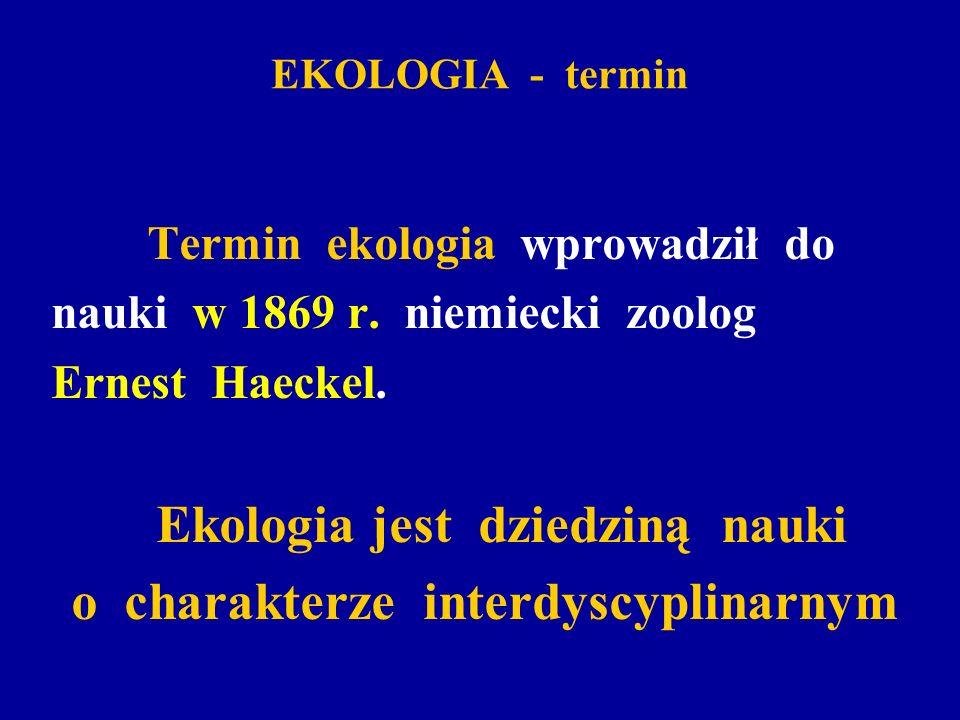 Ekologia jest dziedziną nauki o charakterze interdyscyplinarnym