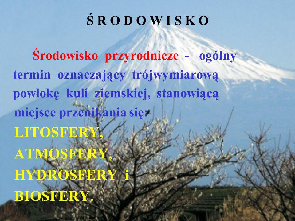 ATMOSFERY, HYDROSFERY i BIOSFERY. Ś R O D O W I S K O
