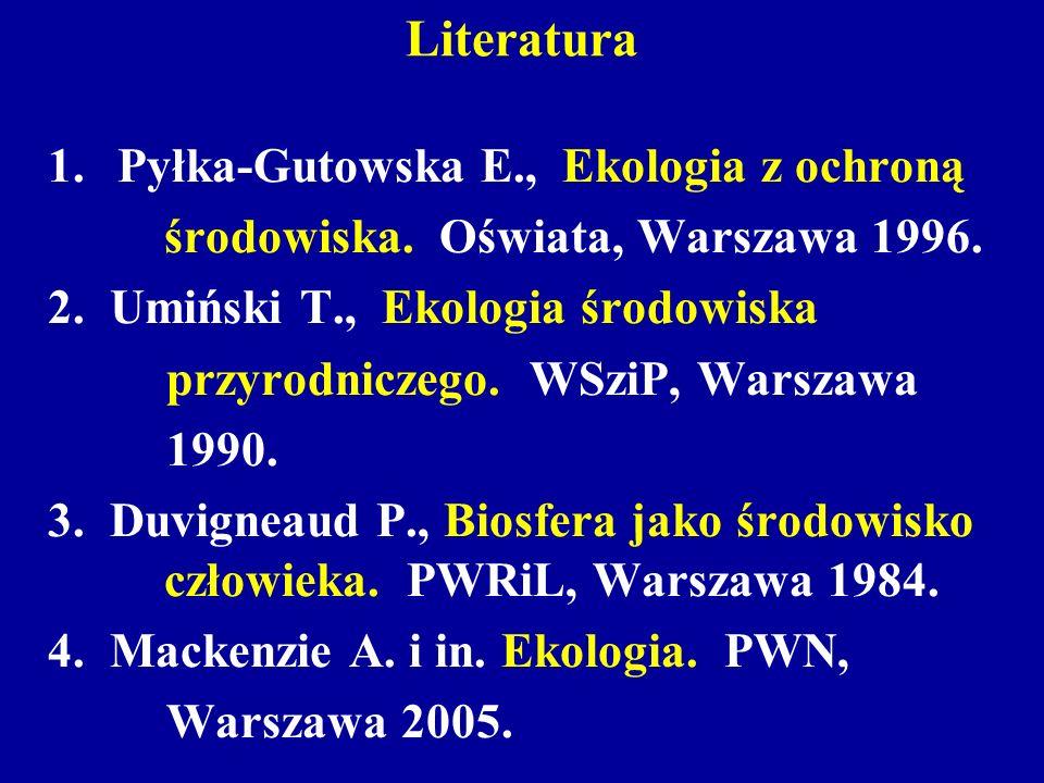Literatura Pyłka-Gutowska E., Ekologia z ochroną