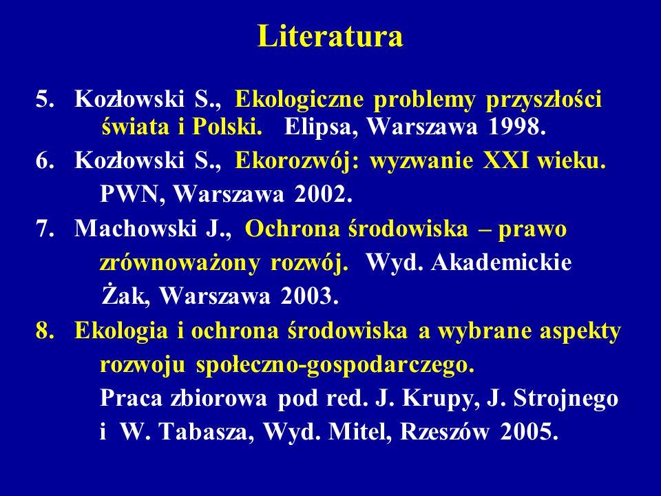 Literatura 5. Kozłowski S., Ekologiczne problemy przyszłości świata i Polski. Elipsa, Warszawa 1998.