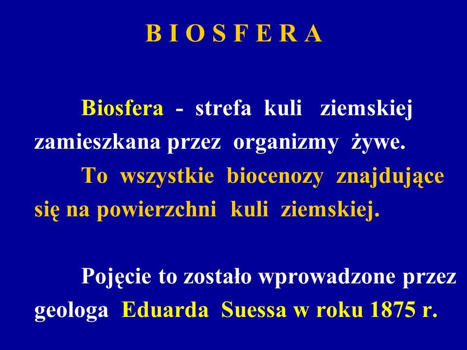 B I O S F E R A zamieszkana przez organizmy żywe.