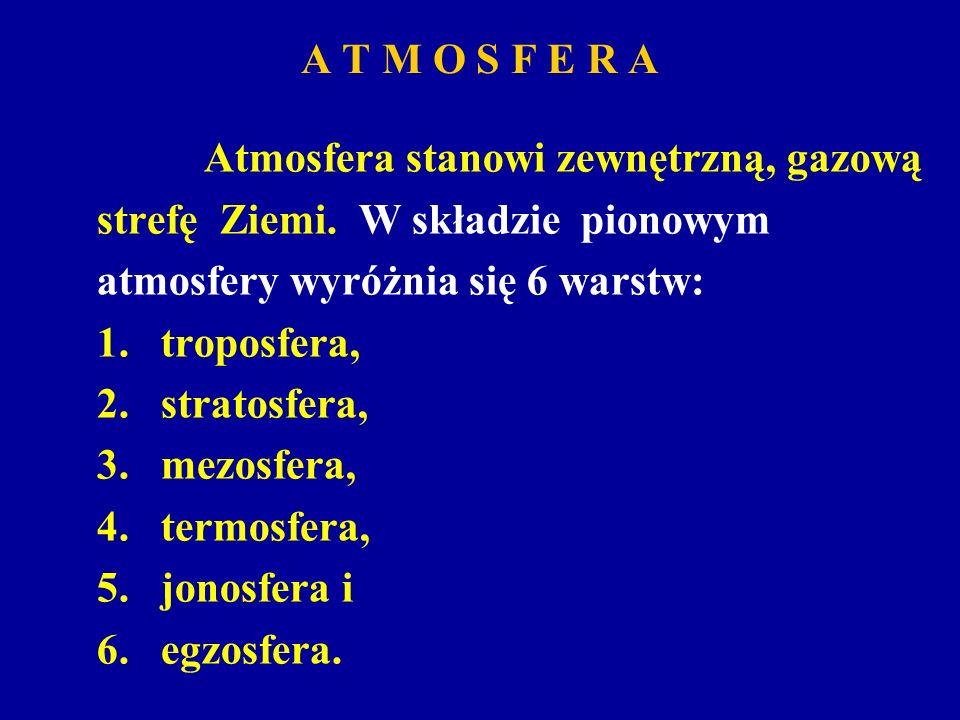 A T M O S F E R AAtmosfera stanowi zewnętrzną, gazową. strefę Ziemi. W składzie pionowym. atmosfery wyróżnia się 6 warstw:
