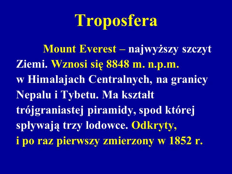 Troposfera Ziemi. Wznosi się 8848 m. n.p.m.