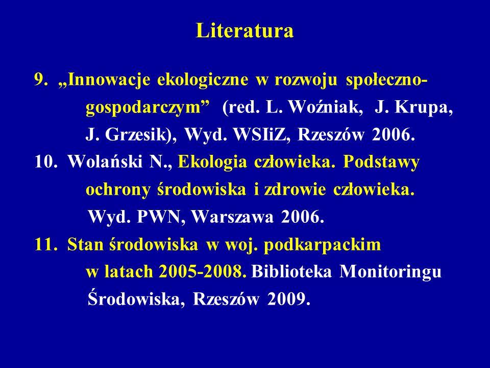 """Literatura 9. """"Innowacje ekologiczne w rozwoju społeczno-"""