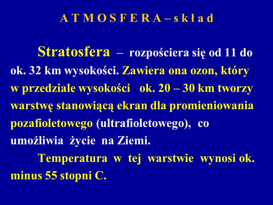 A T M O S F E R A – s k ł a dStratosfera – rozpościera się od 11 do. ok. 32 km wysokości. Zawiera ona ozon, który.
