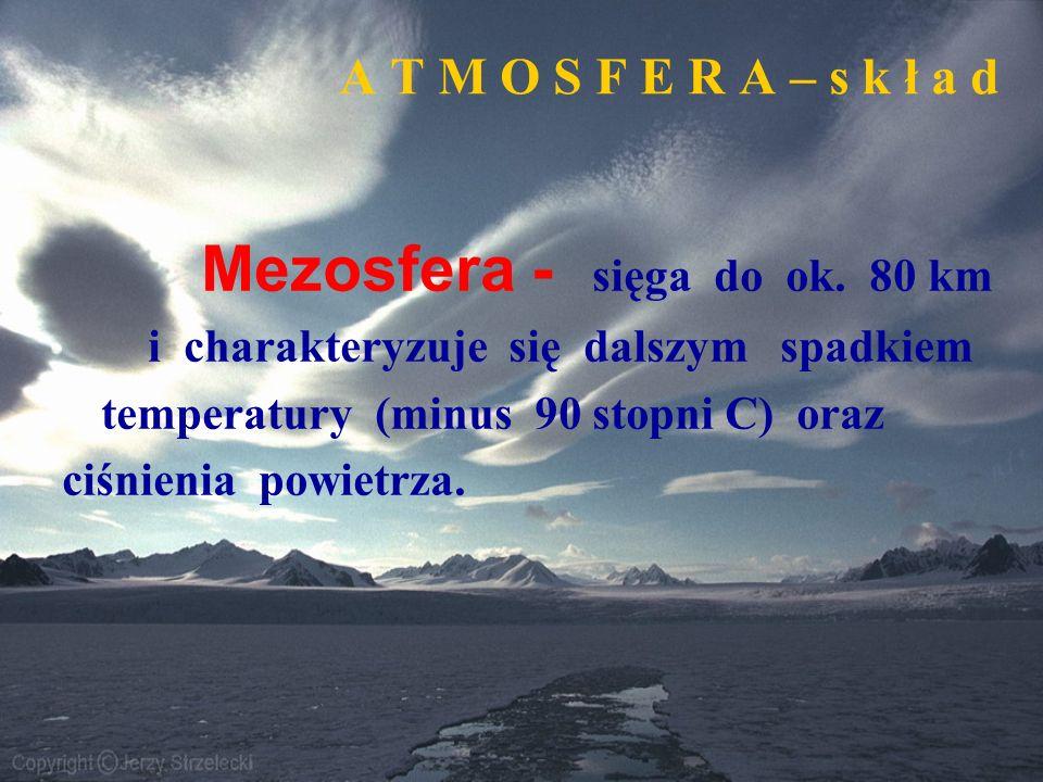 A T M O S F E R A – s k ł a d Mezosfera - sięga do ok. 80 km