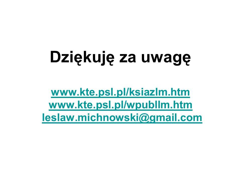 Dziękuję za uwagę www. kte. psl. pl/ksiazlm. htm www. kte. psl