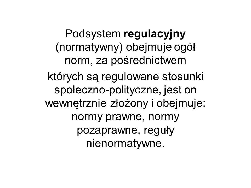 Podsystem regulacyjny (normatywny) obejmuje ogół norm, za pośrednictwem