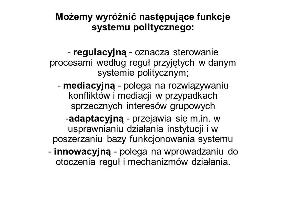 Możemy wyróżnić następujące funkcje systemu politycznego: