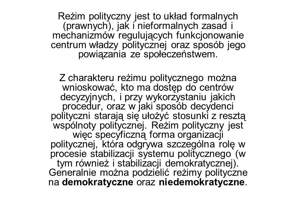 Reżim polityczny jest to układ formalnych (prawnych), jak i nieformalnych zasad i mechanizmów regulujących funkcjonowanie centrum władzy politycznej oraz sposób jego powiązania ze społeczeństwem.