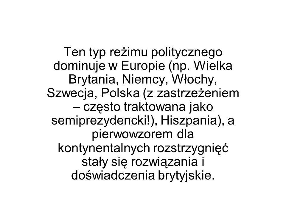 Ten typ reżimu politycznego dominuje w Europie (np