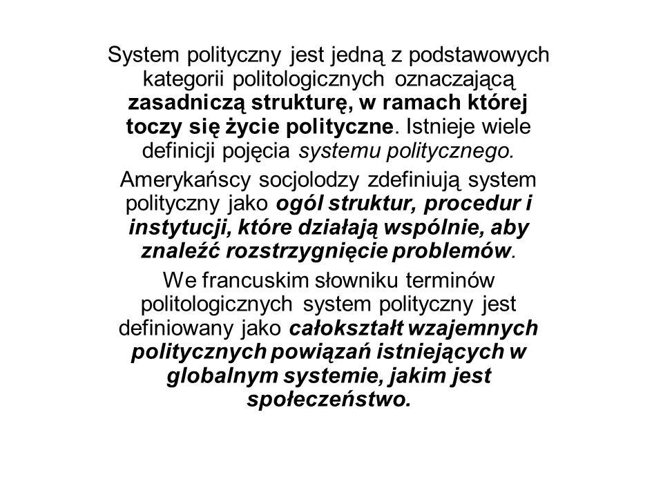 System polityczny jest jedną z podstawowych kategorii politologicznych oznaczającą zasadniczą strukturę, w ramach której toczy się życie polityczne. Istnieje wiele definicji pojęcia systemu politycznego.