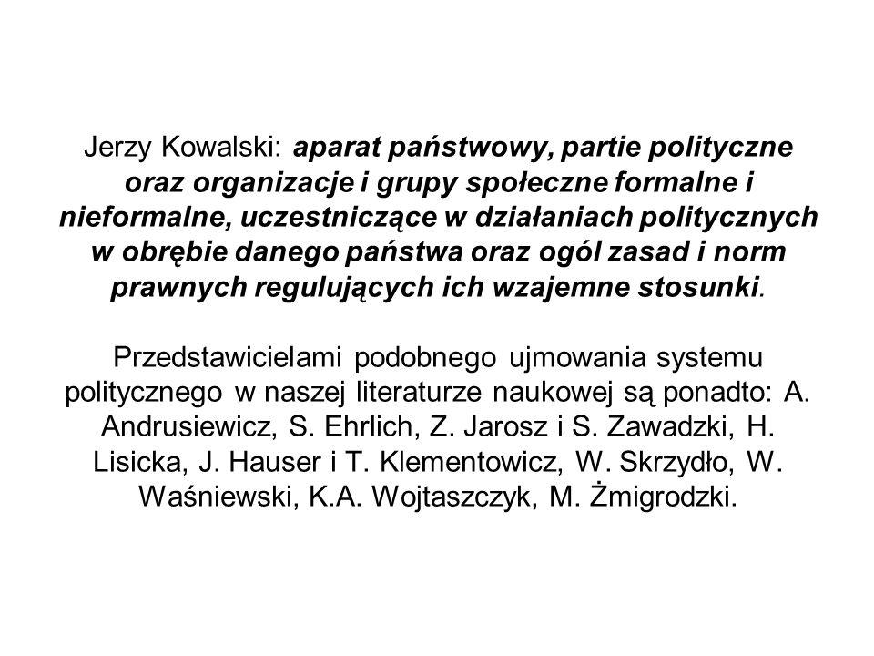 Jerzy Kowalski: aparat państwowy, partie polityczne oraz organizacje i grupy społeczne formalne i nieformalne, uczestniczące w działaniach politycznych w obrębie danego państwa oraz ogól zasad i norm prawnych regulujących ich wzajemne stosunki.