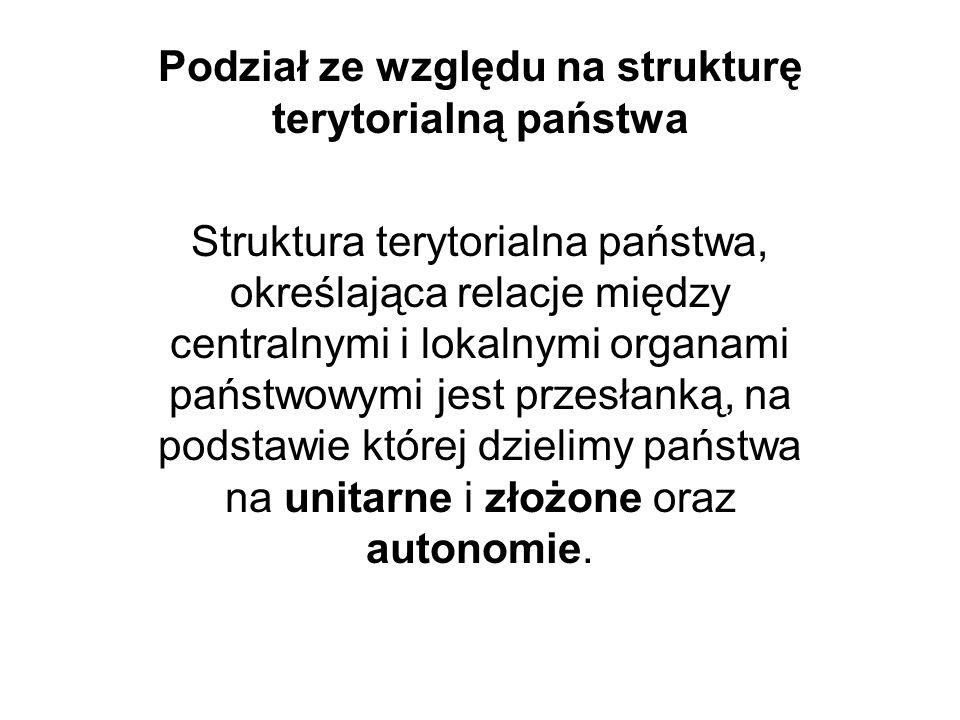 Podział ze względu na strukturę terytorialną państwa