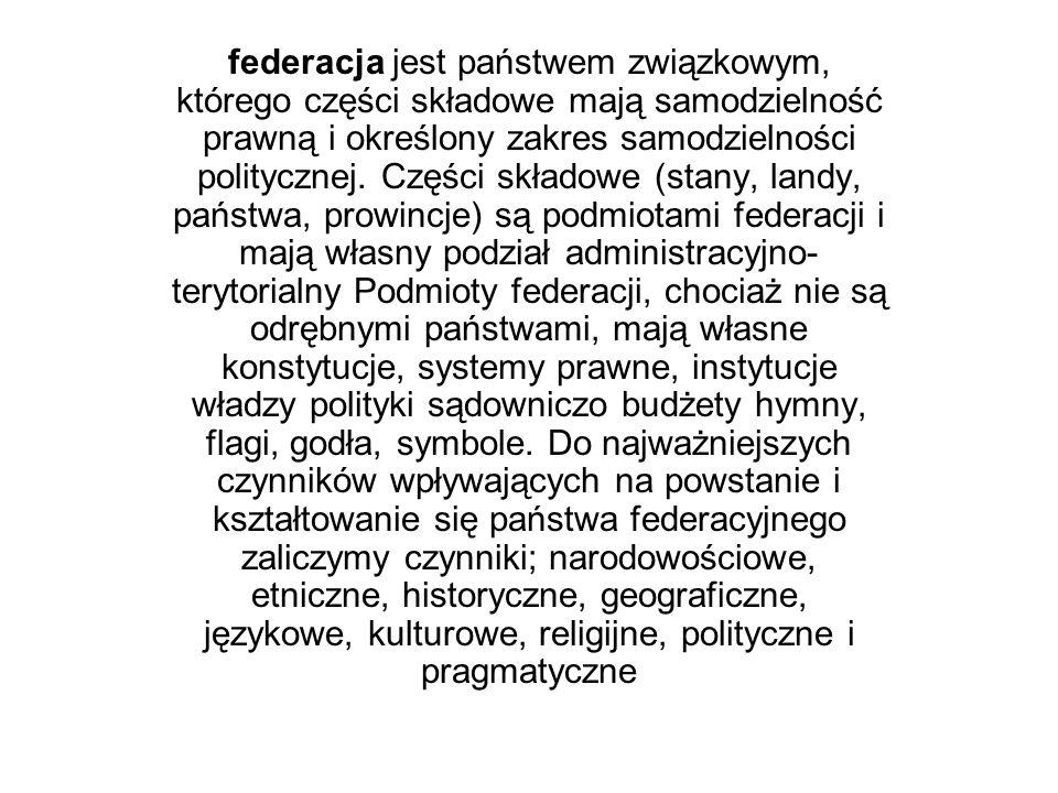 federacja jest państwem związkowym, którego części składowe mają samodzielność prawną i określony zakres samodzielności politycznej.