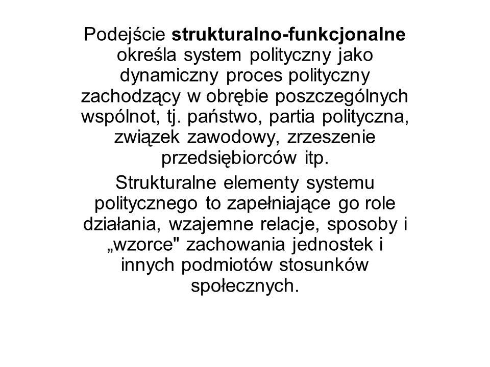 Podejście strukturalno-funkcjonalne określa system polityczny jako dynamiczny proces polityczny zachodzący w obrębie poszczególnych wspólnot, tj. państwo, partia polityczna, związek zawodowy, zrzeszenie przedsiębiorców itp.