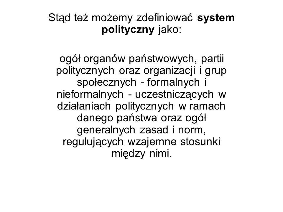 Stąd też możemy zdefiniować system polityczny jako: