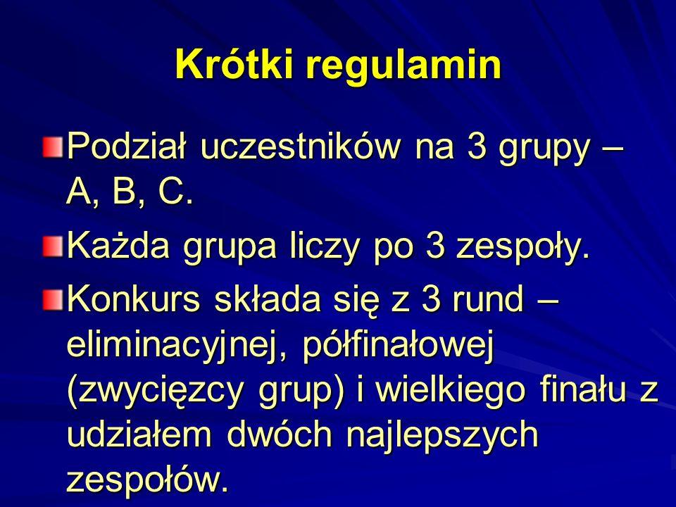 Krótki regulamin Podział uczestników na 3 grupy – A, B, C.