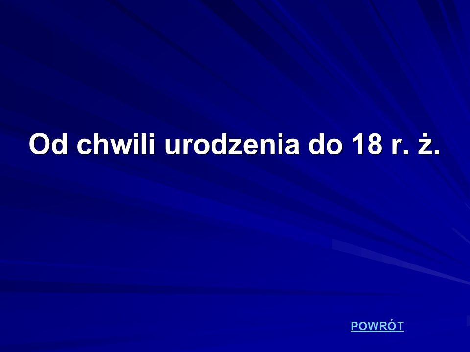 Od chwili urodzenia do 18 r. ż.