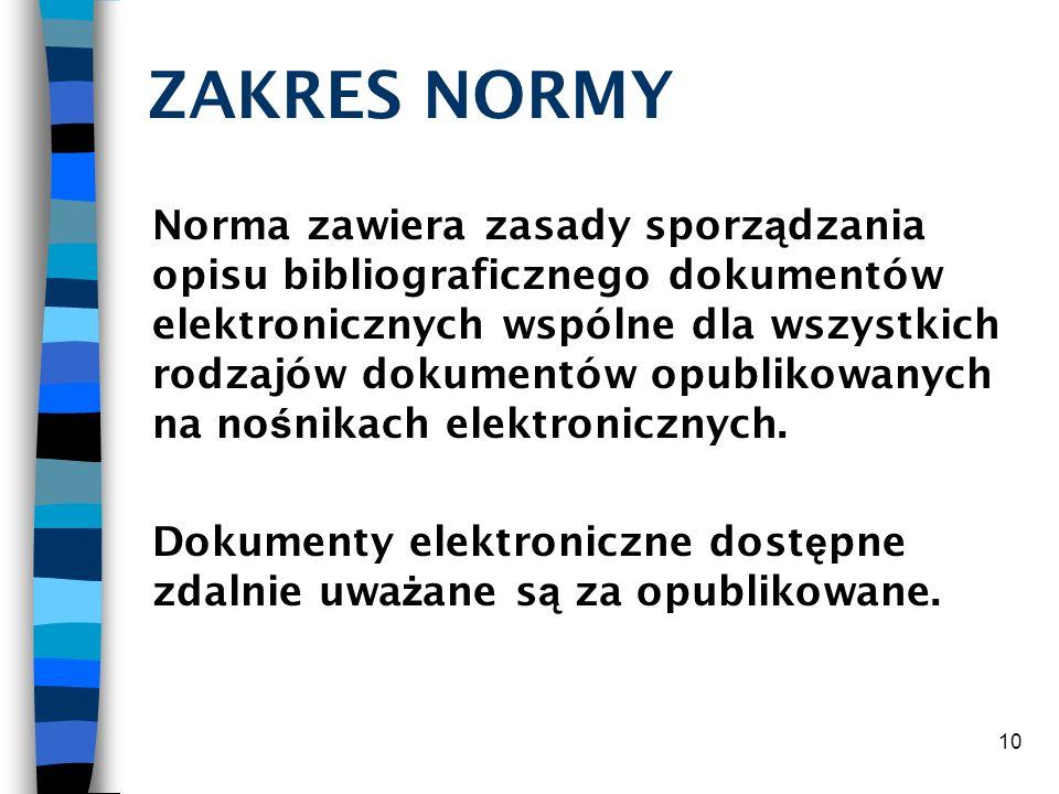 ZAKRES NORMY