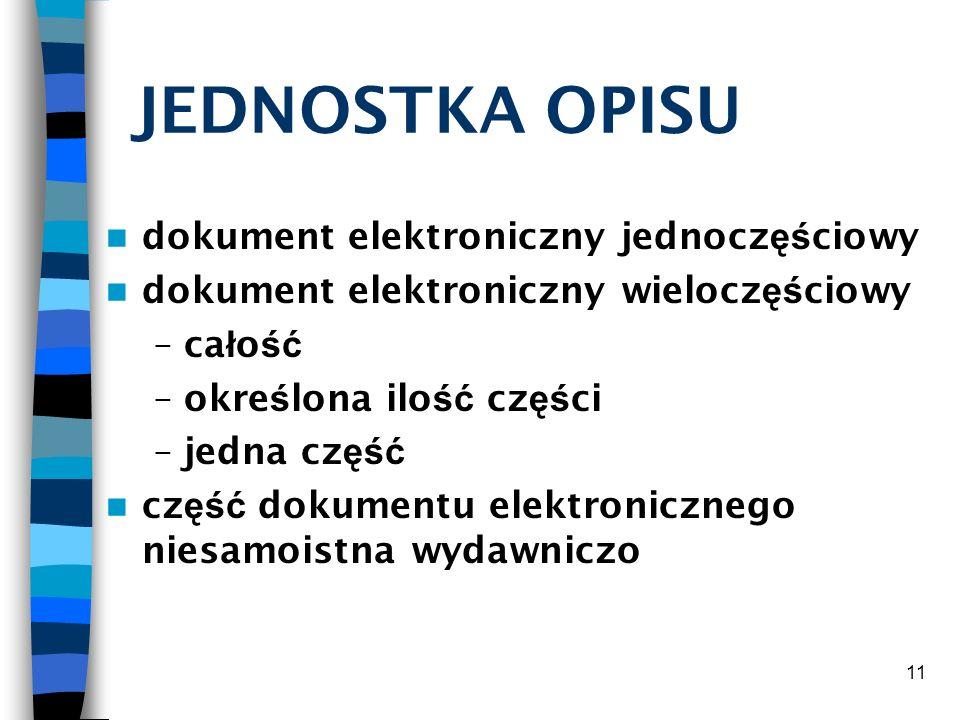 JEDNOSTKA OPISU dokument elektroniczny jednoczęściowy