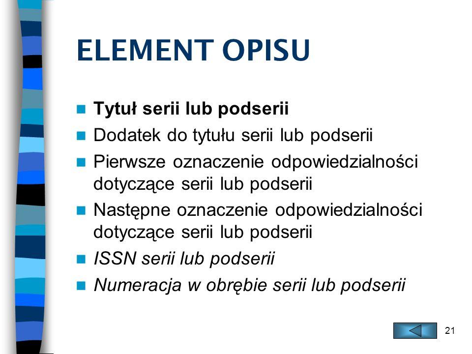 ELEMENT OPISU Tytuł serii lub podserii