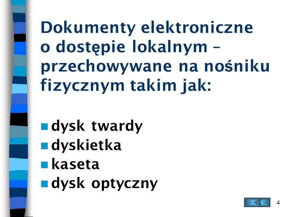 Dokumenty elektroniczne o dostępie lokalnym – przechowywane na nośniku fizycznym takim jak: