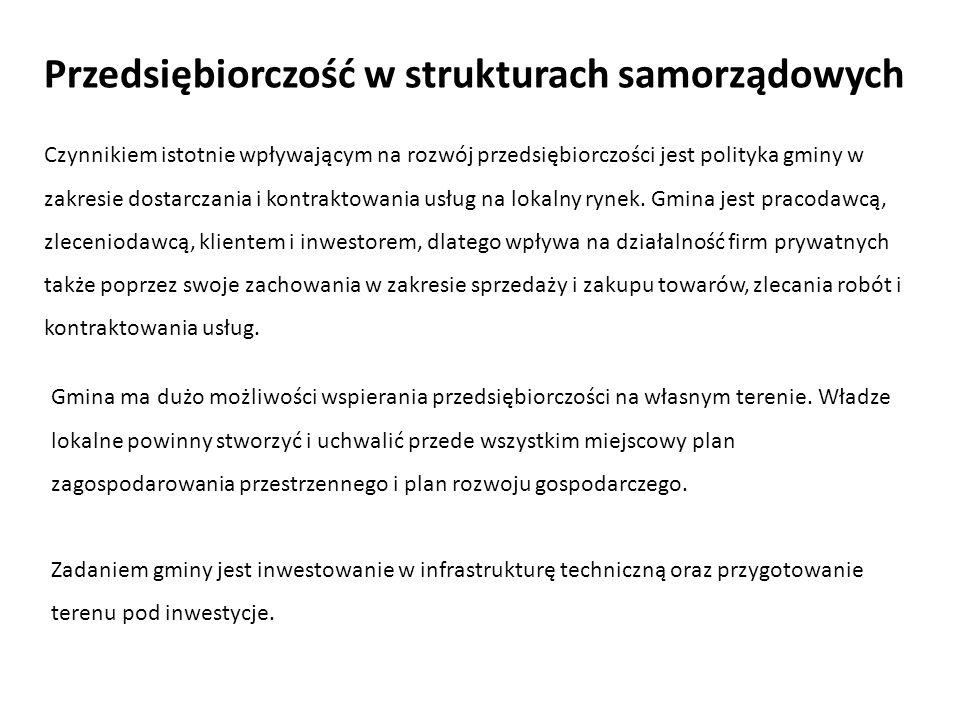 Przedsiębiorczość w strukturach samorządowych